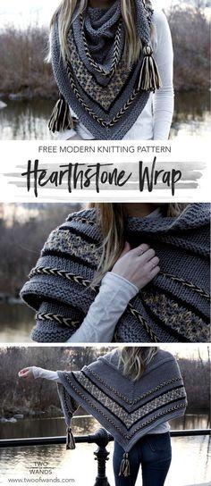 Hearthstone Wrap Free modern knitting pattern for the Hearthstone. - Hearthstone Wrap Free modern knitting pattern for the Hearthstone Wrap pattern by Tw - Baby Knitting Patterns, Knitting Terms, Free Knitting, Crochet Patterns, Vogue Knitting, Shawl Patterns, Circular Knitting Patterns, Kids Knitting, Knitting Scarves
