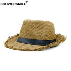 80dd583e78f SHOWERSMILE Brand Khaki Straw Hat Men Panama Caps Summer Style Sun Hat Beach  Holiday Classic Male Hats And Caps