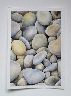 FREE shipping Original Watercolor Painting stones home by SuayaArt, £63.00 Watercolor Negative Painting, Watercolor Sketchbook, Watercolor Illustration, Pebble Painting, Stone Painting, Papier Paint, Winsor And Newton Watercolor, Colored Pencil Artwork, Rock And Pebbles