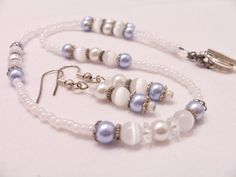 Elegant white and soft blue pearl quartz and crystal jewelry set - bridal/wedding jewelry by SparkleandComfort, $14.00