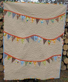 Baby Quilt - Crib Quilt - Modern Banner bunting quilt - orange blue gray grey green. $135.00, via Etsy.