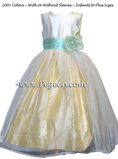 a4d48600a Baby Chick Yellow, Aqualine and ivory with organza skirt flower girl dress  style 359 Yellow