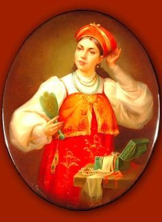 Russian lacquer miniature from the village of Fedoskino. Russian beauty with a hand  mirror.