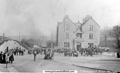 Abbeydale Station Hotel, later known as Beauchief Hotel, No Abbeydale Road South at junction of Abbey Lane, on a Bank Holiday Location: Sheffield_Abbeydale Sheffield City, Sheffield England, South Yorkshire, Old Pictures, Street View, Bank Holiday, History, Outdoor, Photographs