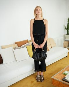4b41956f68 Nanushka BLAZE - black loungewear pants with fringed hem
