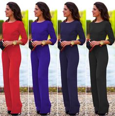 Women Casual Elegant Jumpsuit Backless Sexy Romper Long Pants Party Overalls #none #Jumpsuit