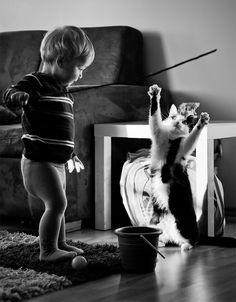 20 стоплящи сърцето снимки на деца, играещи със своите котки - сп. Обекти