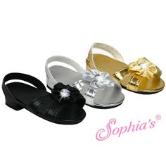 "Black, Metallic gold or silver high heel, accent flower with rhinestone in the middle perfect for that special night out for your 18"" American Girl Doll. Made by Sophia's.1 available of each color"