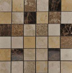 Beige Gold/Emp Dk/Bot/Cedar Polished Marble Mosaic Bathroom Tiles