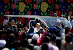Pope Francis waves to the crowd after celebrating Mass in San Cristobal de las Casas, Mexico, Monday, Feb. 15, 2016. Francis is celebrating Mexico's Indians on Monday with a visit to Chiapas state, a center of indigenous culture, where he will preside over a Mass in three native languages thanks to a new Vatican decree approving their use in liturgy. The visit is also aimed at boosting the faith in the least Catholic state in Mexico. Photo: Eduardo Verdugo, AP / AP