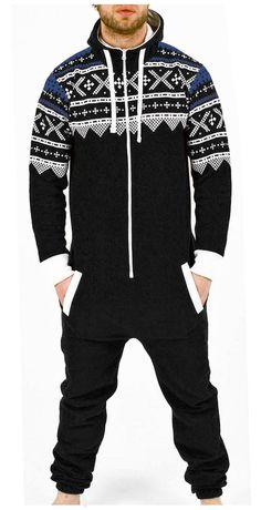 27c74dcce974 Amazon.com  Juicy Trendz Men s one Piece Jumpsuit Hooded Playsuit All in  one Aztec Black Large  Clothing