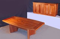 African mahogany conference room furniture built by Neal Burns. 509-466-4684