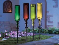 SET of 4 SOLAR WINE BOTTLE HOLDER STAKES GARDEN LIGHT OUTDOOR PATIO YARD ART