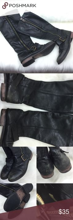 STEVE MADDEN 🎀 LEATHER RUCHED BUCKLE BOOTS, 9 Very distressed and worn with marks-please view pictures closely.  These are totally wearable-give off a FREEBIRD vibe, without the price!  Still, by Steve Madden!  Side zipper to add to the industrial detailing and for ease of in and out.  Area on of the of the insoles has tearing/wear, as pictured.  Very cool ruched toe area-adding to the distressed look!  Size 9 LEATHER UPPER! 🎀🎀🎀 AX Steve Madden Shoes