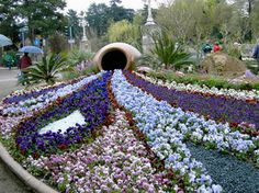 ~ Amazing Gardens, Beautiful Gardens, Miracle Garden, Flower Show, Topiary, Shades Of Purple, Garden Art, Flower Designs, Places To Visit