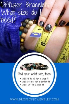 Diffuser Bracelets – How to Find Your Size Diffuser Bracelet Size Chart – Beads Homemade Jewelry, Diy Jewelry, Jewelry Making, Fashion Jewelry, Jewelry Ideas, Beaded Jewelry, Jewelry Necklaces, Yoga Jewelry, Silver Jewelry