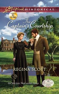 The Captain's Courtship by Regina Scott, book 2 in the Everard Legacy series. The dashing Captain Richard Everard has faced untold dangers at sea. Steering his young cousin through a London season, however, is a truly formidable prospect. The girl needs a sponsor, like lovely widow Lady Claire Winthrop—the woman who jilted Richard years ago.