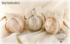 Пошаговый мастер класс, как сделать красивый декор елочных шаров своими руками