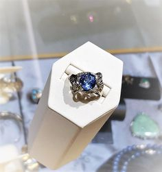 Wow a 2ct Tanzanite set in 14k white gold with diamonds sprinkled around the setting. $2,995.00