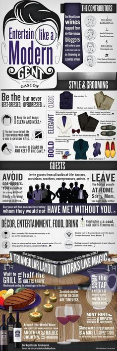How to Entertain Like a Modern Gentleman [Infographic] The inside needs to match the outside - manners and etiquette are what make you a gentleman. Without manners you're just a well dressed douche bag. Der Gentleman, Gentleman Rules, Gentleman Style, Being A Gentleman, Gentlemans Club, Style Fitness, Gentlemens Guide, Etiquette And Manners, The Fashionisto