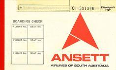 Ansett Airlines of South Australia Flight Ticket, circa 1977