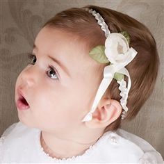 Infant  Ivory Buttercup Headband -  Christening/Baptism Collection - Designer Gowns & Headbands