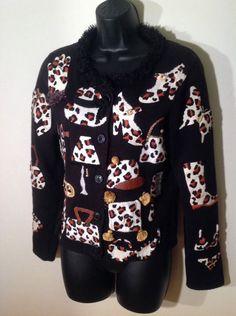 Michael Simon Cardigan Sweater Animal Print Hats Shoes Handbags S #MichaelSimon #Cardigan