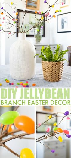 Try making these jelly bean branches for a fun addition to your Easter decor this year. Easter Crafts, Crafts For Kids, Diy Crafts, Easter Ideas, Easter Decor, Diy Furniture Projects, Craft Projects, Branch Decor, Easter Celebration