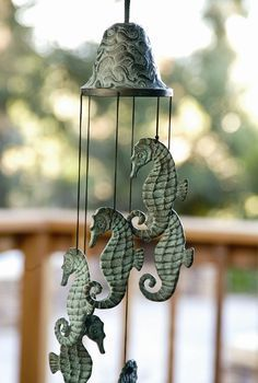 Seahorse Wind Chime Nautical Coastal Verdi Green Garden Bell Wind chimes Brass