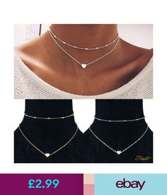 Necklaces & Pendants Vintage Women Simple Double Layers Choker Chain Necklace Heart Pendant Silver Uk #ebay #Fashion