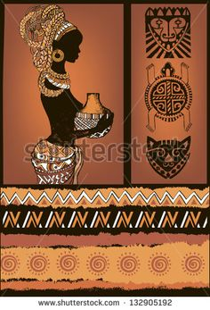 Beautiful black woman.African woman. African Set.African masks and ornaments - stock vector