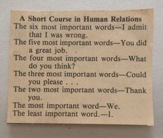 A Short Course in Human Relations