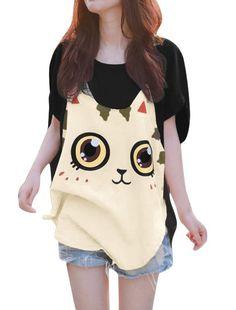 Allegra K Women Short Batwing Sleeve Cartoon Cat Pattern Loose Fit Tunic Shirt