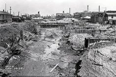 "The ""slip"", running along Pershing from Racine to Halsted, 1924, Chicago. This is the wasteland created where the runoff from the Stockyards connected to the river - and at one time was technically known as the eastern fork of the south branch of the Chicago River."