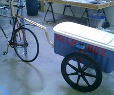 this is the finished bicycle trailer.  I built it principally because i had all the components lying around and needed a bicycle trailer.  many substi...