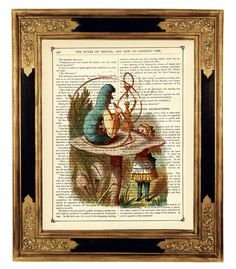 *Alice in Wonderland talking to the smoking Caterpillar Surreal Steampunk Color Art Print on Vintage Victorian Book Page*  This vintage illustration is printed on an antique book page from an old Victorian book. All pages have a beautiful golden patina and some pages may have small age spots that add charm.  ★ ★ Buy 3 prints and receive a 4th print for FREE! Just include your choice of free print during checkout. ★ ★  ★ Printed on a gorgeous antique Victorian book page from 1882 ★ Size of…