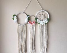 3 hoop Doily and Floral wall hanging