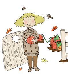 Free Dearie Dolls Digi Stamps: Pumpkin Garden