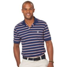 Men s CHAPS S Striped Navy Blue Orange Casual Polo Rugby Shirt Short Sleeve  NWT… Adidas f0b98cf02afe