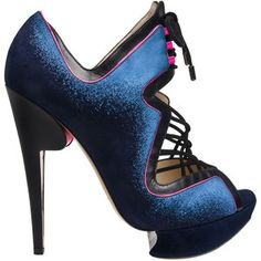 This is a one of a kind heel. With the midnight blue color, the shapely heel and platform, and the pink lining which makes it pop. One of Sarah Jessica Parker's Favorites by Nicholas Kirkwood.