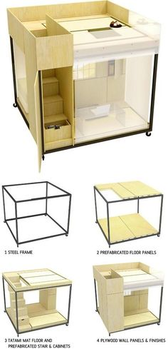 "Japanese modular box room- now this is what I call ""Living-quarters""... Lol Remarkably, the tiny unit accommodates a study with a desk and file cabinet, a staircase with built-in storage, a book with bookshelves and a meditation zone up and away from it all on its second level."