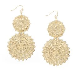 Floral Filigree Earrings ($18) ❤ liked on Polyvore featuring jewelry, earrings, accessories, brincos, gold, women, earring jewelry, disc earrings, filigree earrings and charm jewelry
