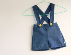Boys Suspender Shorts  made to order by CottontailNZ on Etsy