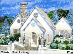 Elegant white house in a winter wonderland setting. Perfect for a single sim or couple who just love this time of year. One floor, one bedroom and one bathroom. Found in TSR Category 'Sims 4...