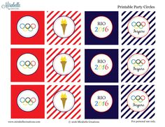 2016 Summer Olympics Free Printable Party Circles or Cupcake Toppers by Mirabelle Creations