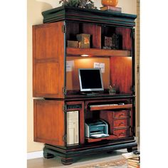 Home Office Furniture Computer Armoires | ... furniture home office desks grand style home office computer armoire