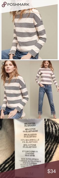 Eri + Ali for Anthropologie striped sweater This is a super cute sweater I must re-posh as it's a but too big- I would say it's  true to size to oversized medium (I'm usually a s/m). Great condition, great texture. Darts at bust. Anthropologie Sweaters