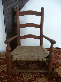 Antique Child's Old Wooden Chair Pennsylvania Country Primitive Folk