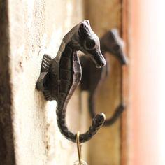 Cast Iron Seahorse Wall Hooks - Set of 2