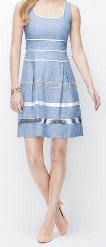 Texture, stripes, a little flare. This spring dress is sweet, but modern, and it's waiting for you at Ann Taylor.